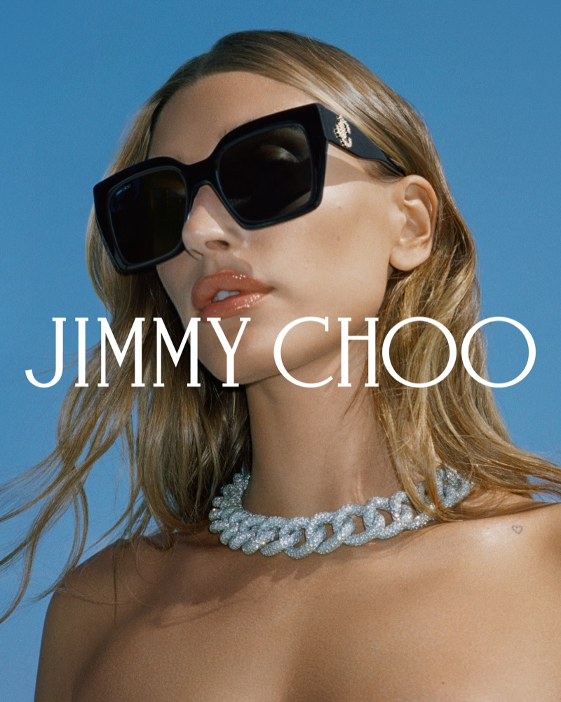 Hailey Bieber gets her closeup in Jimmy Choo fall 2021 campaign featuring sunglasses.