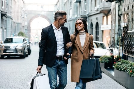 Happy Couple Shopping Bags Stylish Outfits