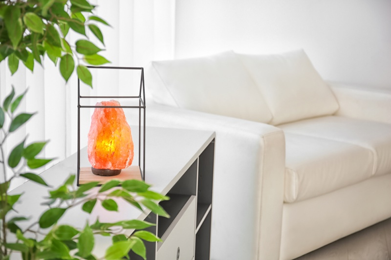 Himalayan Salt Lamp Couch Living Room