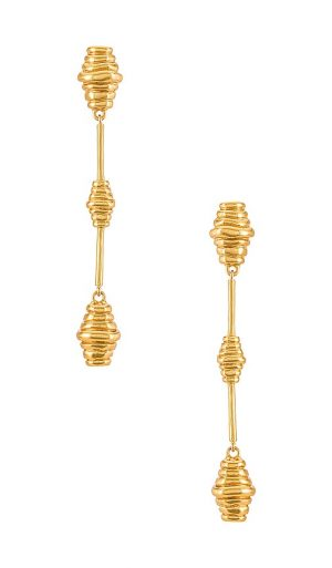 House of Harlow 1960 House of Harlow Honeycomb Drop Earrings in Metallic Gold.