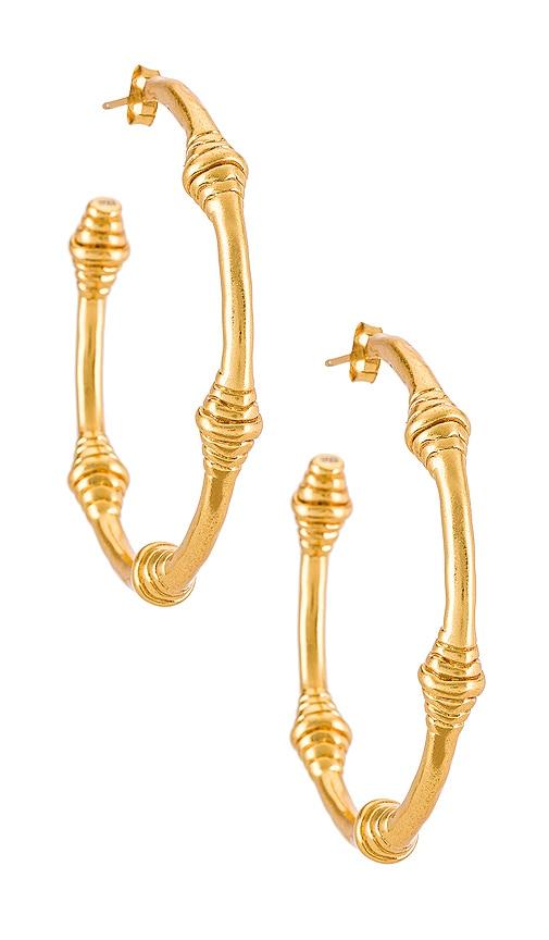 House of Harlow 1960 House of Harlow Honeycomb Hoop Earrings in Metallic Gold.