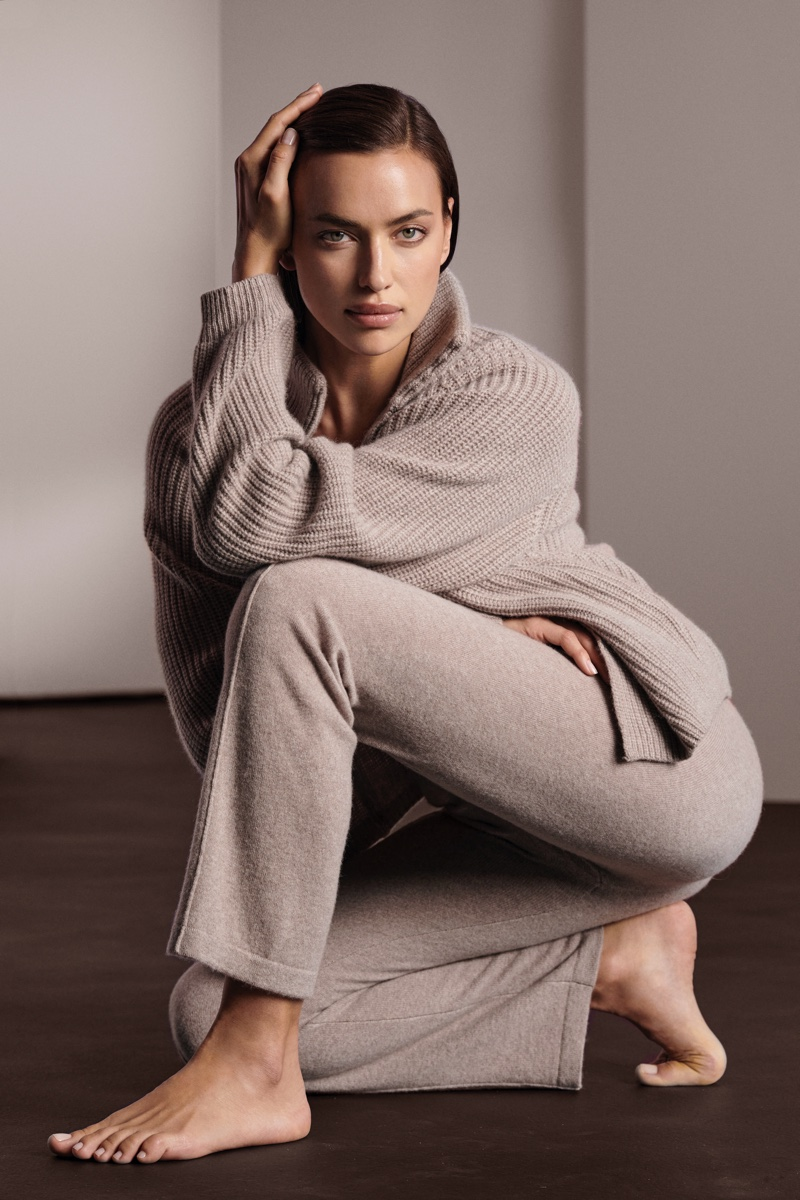Irina Shayk wears neutral knit pieces for NAKEDCASHMERE fall 2021 campaign.