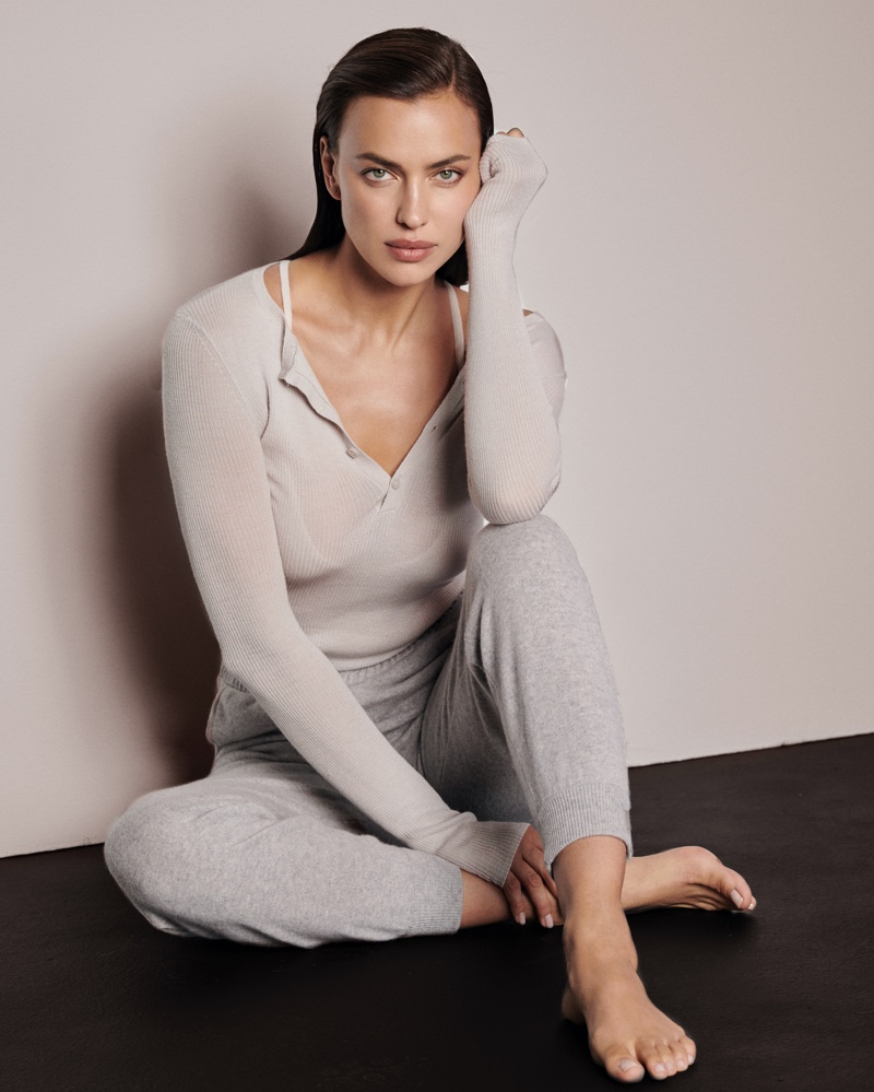 Irina Shayk poses in NAKEDCASHMERE fall 2021 campaign.