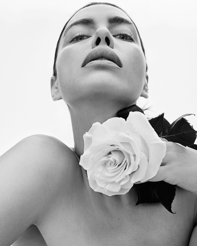 Ready for her closeup, Irina Shayk poses with a rose for Replay Jeans campaign.
