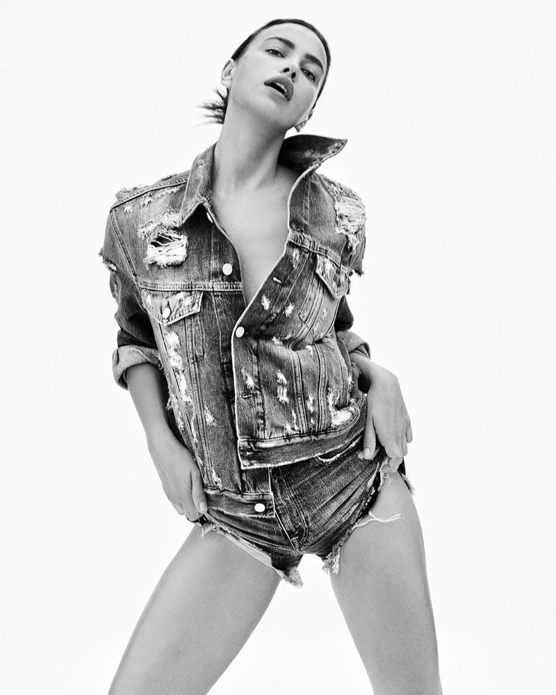 Irina Shayk poses in distressed denim for Replay Jeans Rose Label campaign.