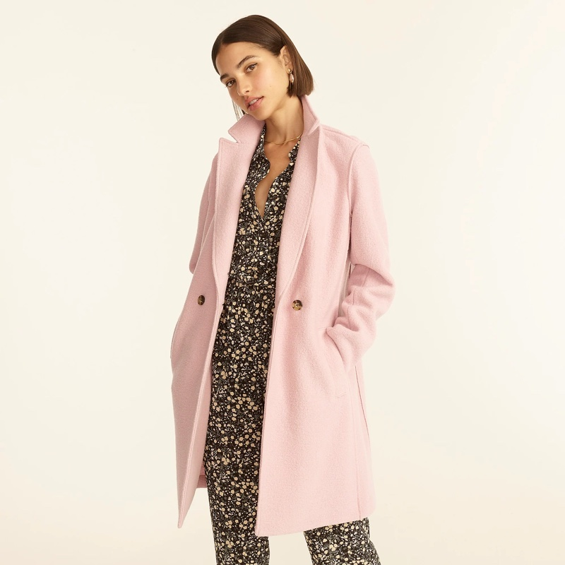 J. Crew Daphne Topcoat Italian Boiled Wool in Icy Orchid $248