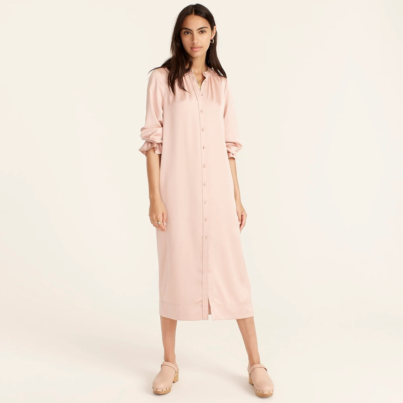 J. Crew Drapey Shirtdress with Satin-Back Crepe in Luxury Camel $118