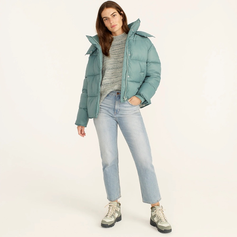 J. Crew Hooded Puffer Jacket with PrimaLoft in Antique Mineral $198