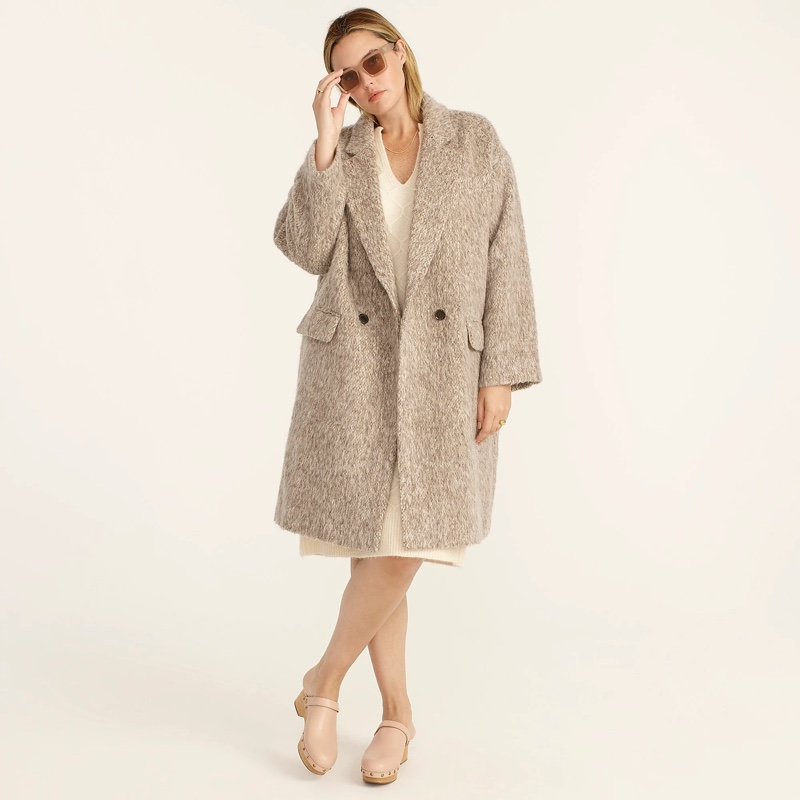 J. Crew Relaxed Topcoat with Brushed Italian Wool in Mushroom $348