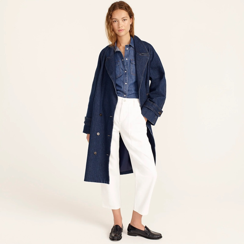 J. Crew Relaxed Trench Coat in Denim $278