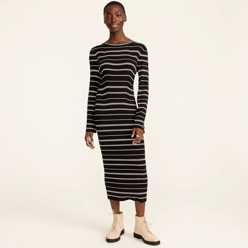 J. Crew Ribbed Flared-Sleeve Sweater-Dress in Mixed Stripe $128