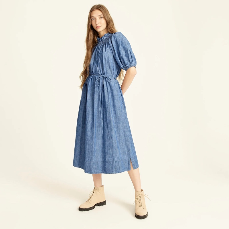 J. Crew Smocked-Neck Puff-Sleeve Dress in Chambray $148