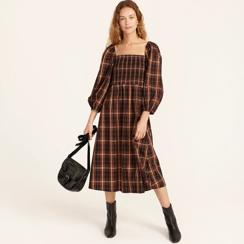 J. Crew Smocked Puff-Sleeve Dress in Friday Plaid $128