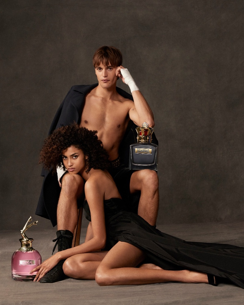 Imaan Hammam and Parker van Noord are the faces of Jean Paul Gaultier's Scandal women's and men's fragrance.