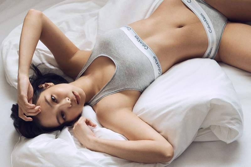 Wearing a grey underwear set, Jennie of BLACKPINK fronts Calvin Klein fall 2021 campaign.