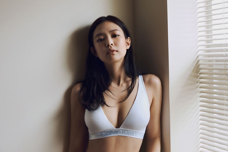 Jennie wears Calvin Klein Modern Structure Lightly Lined Triangle Bralette in Calvin Klein fall 2021 campaign.
