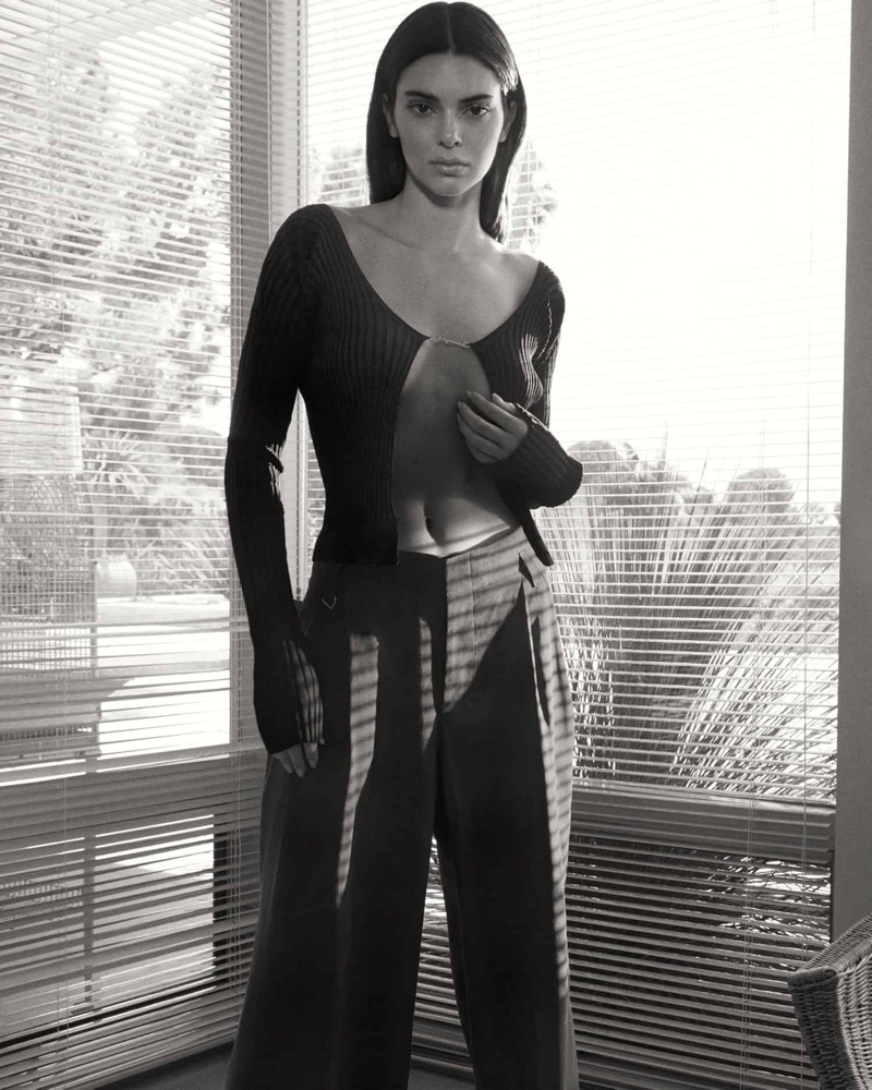 Posing in black and white, Kendall Jenner fronts FWRD promotional shoot.