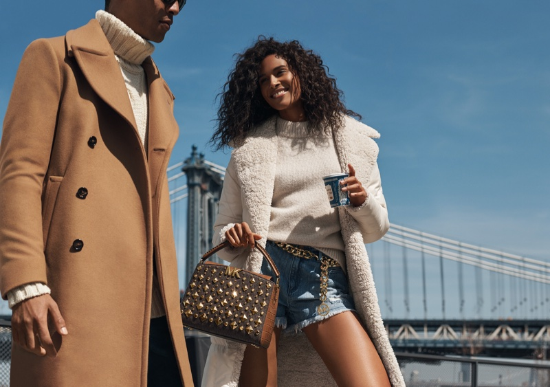 Cindy Bruna poses for MICHAEL Michael Kors fall 2021 campaign.