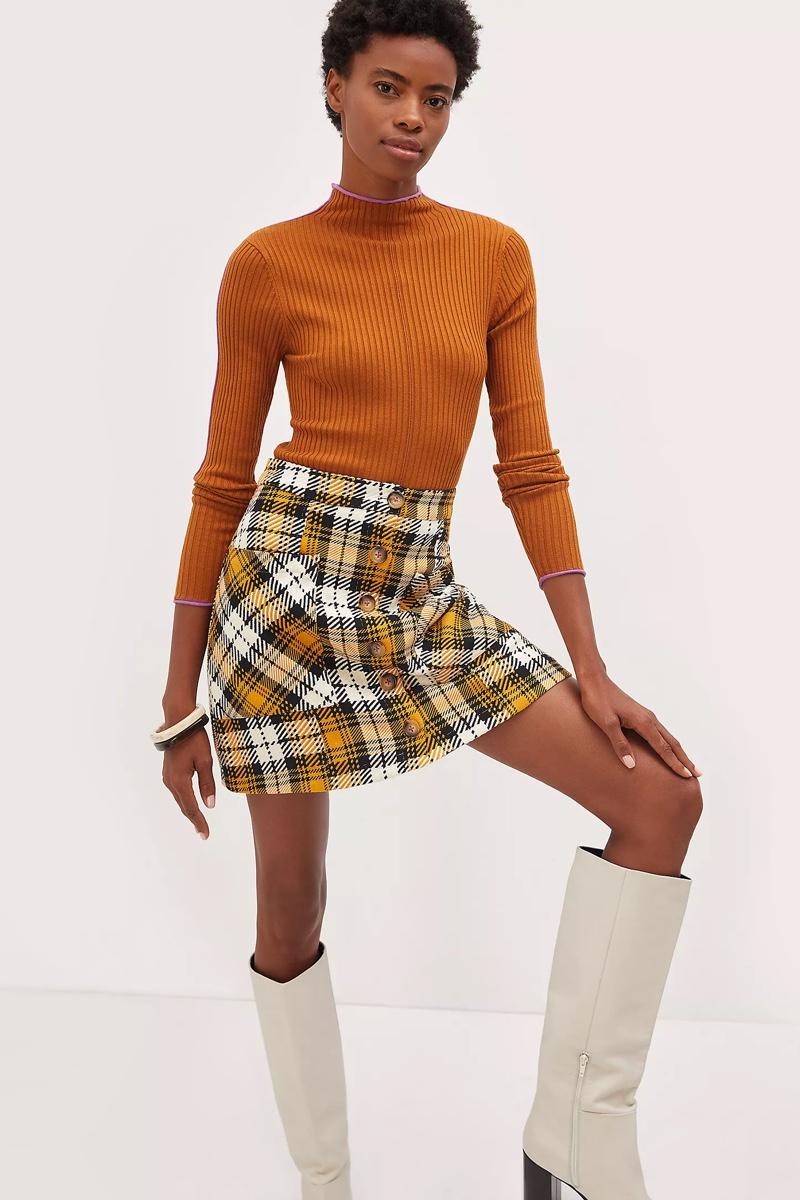 Maeve Plaid Mini Skirt $110
