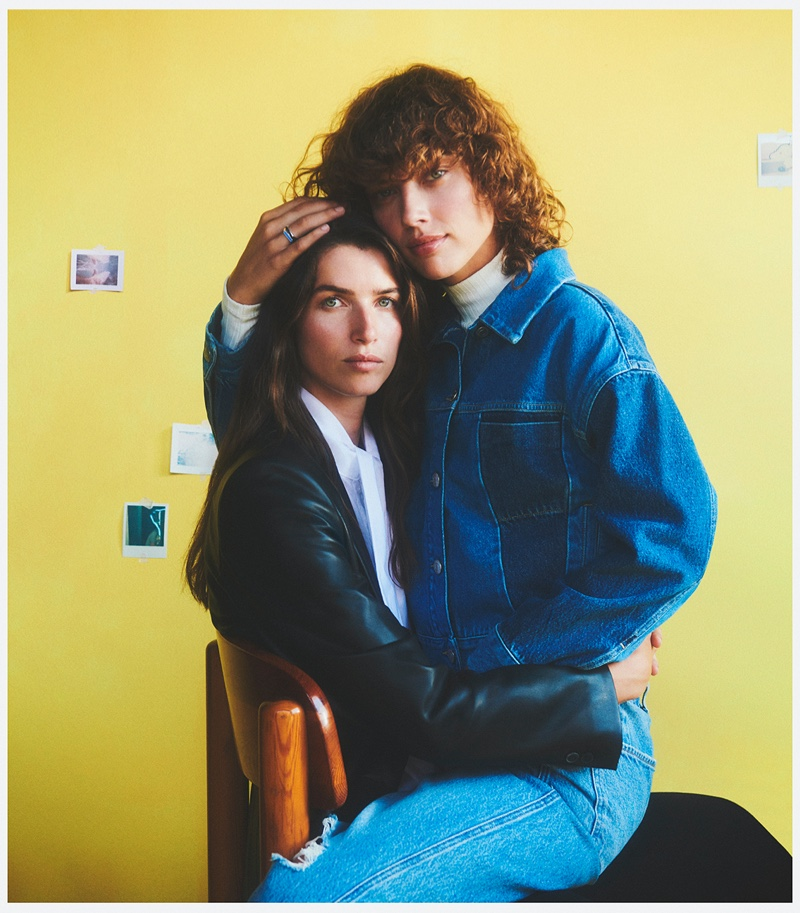 Couple Gigi Ringel and Eeva Lion pose for Mango This is Family fall-winter 2021 campaign.