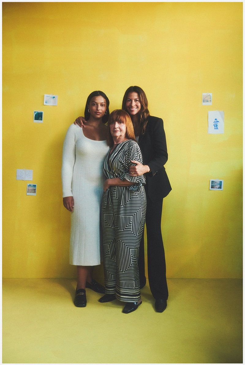 Model Devyn Garcia poses with her mother and grandmother for Mango This is Family fall-winter 2021 campaign.
