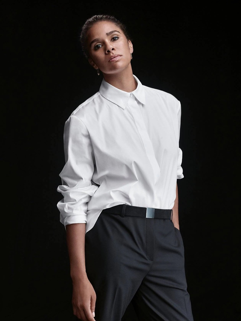 Misty Copeland wears Theory menswear shirt for the brand's fall 2021 campaign.
