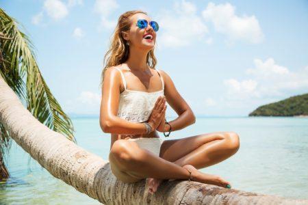 Model Smiling Beach White Swimsuit
