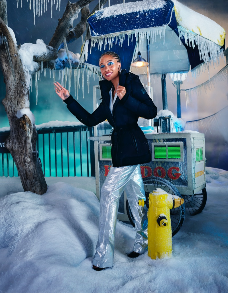 Posing next to a food truck, Adwoa Aboah stars in Moose Knuckles fall-winter 2021 campaign.