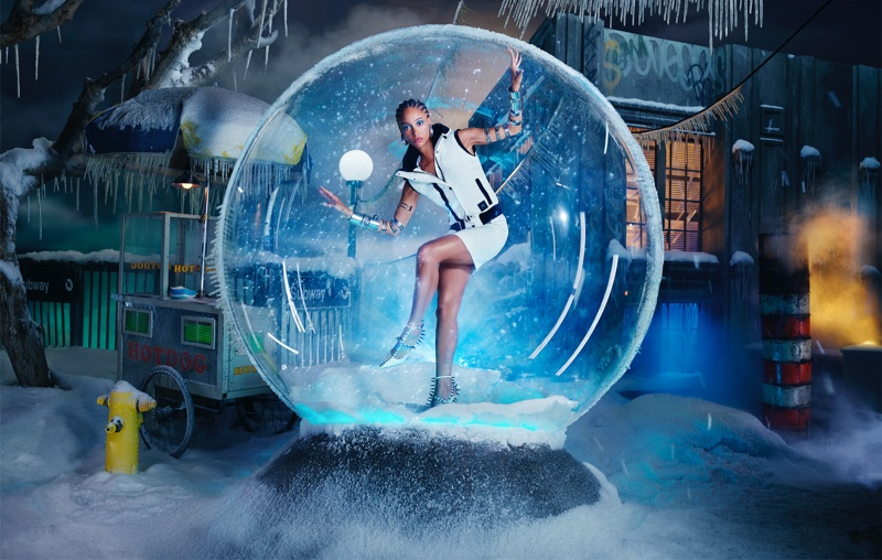 Adwoa Aboah poses in a snow globe for Moose Knuckles fall-winter 2021 campaign. Photo: David LaChapelle