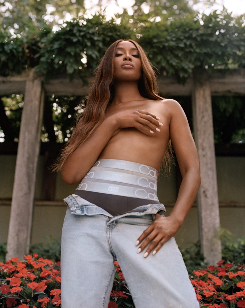 Posing topless, Naomi Campbell fronts Kith for Calvin Klein 2021 campaign.