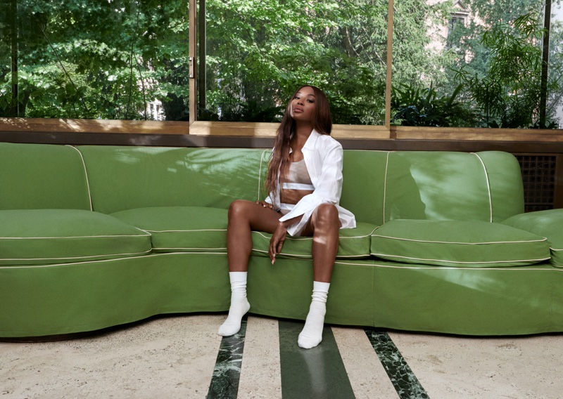 Modeling underwear, Naomi Campbell is the face of Kith for Calvin Klein season 2.