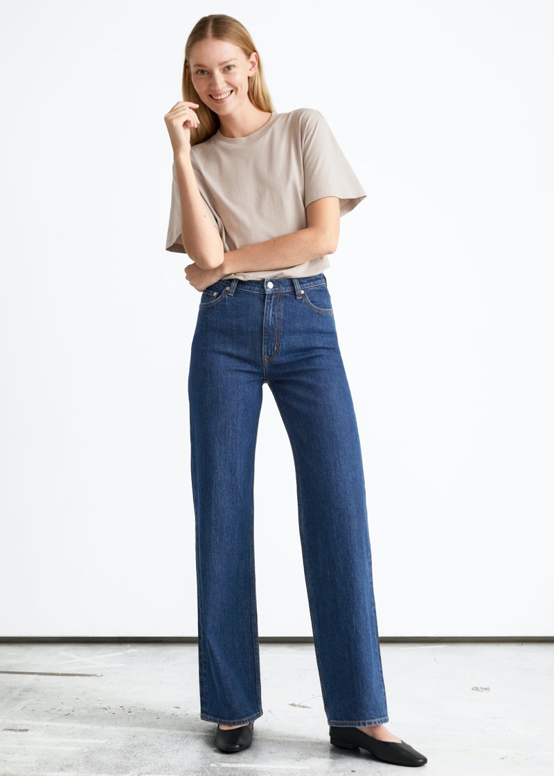& Other Stories Treasure Cut Jeans in Deep Blue $99