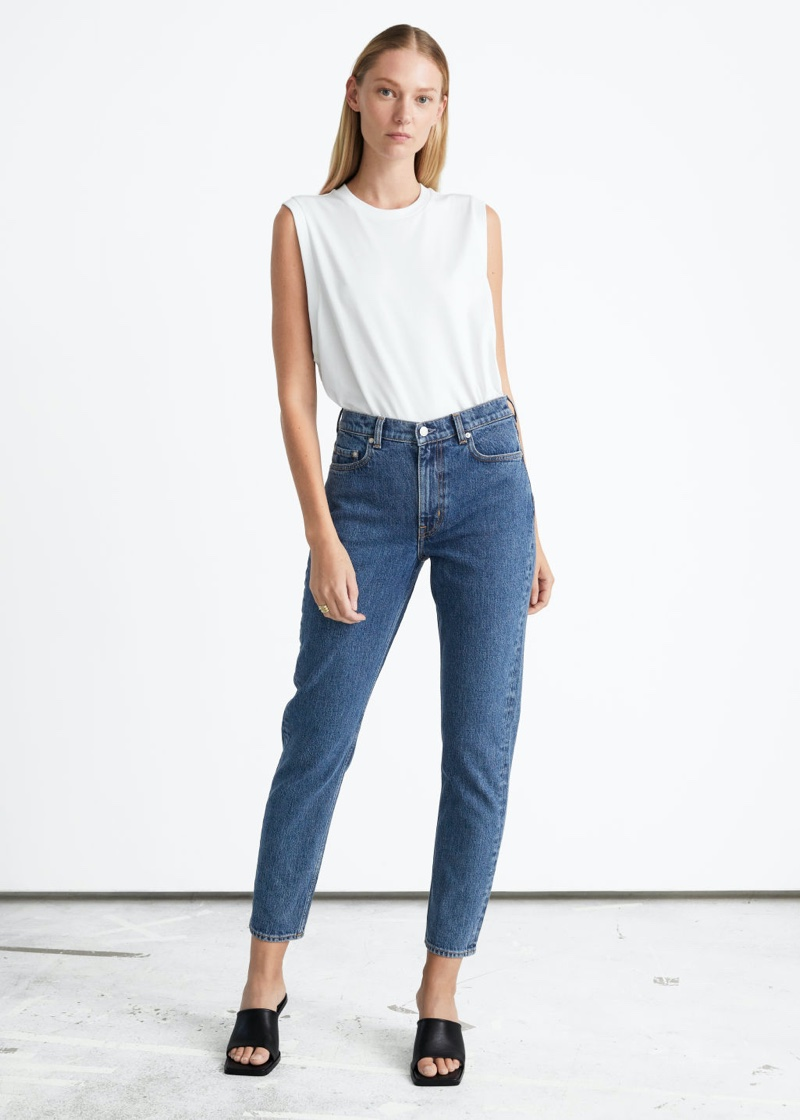 & Other Stories XOXO Cut Jeans in Mid Blue $99