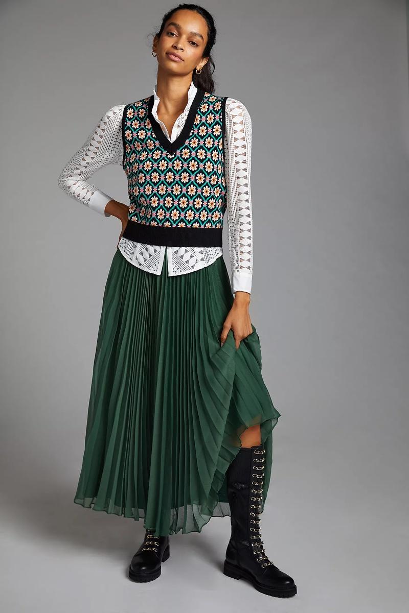 Pankaj Nidhi Pleated Maxi Skirt $160