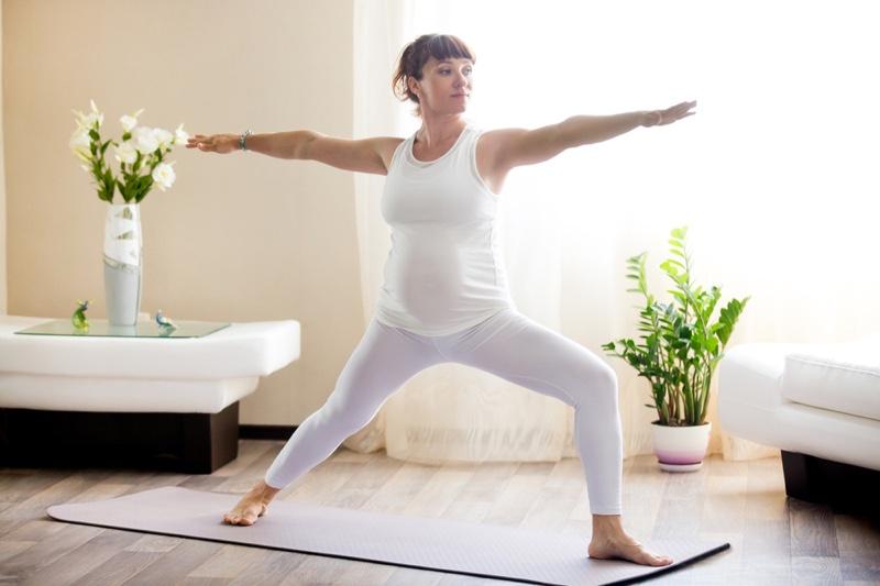 Pregnant Woman Yoga Lunge Yoga Exercise