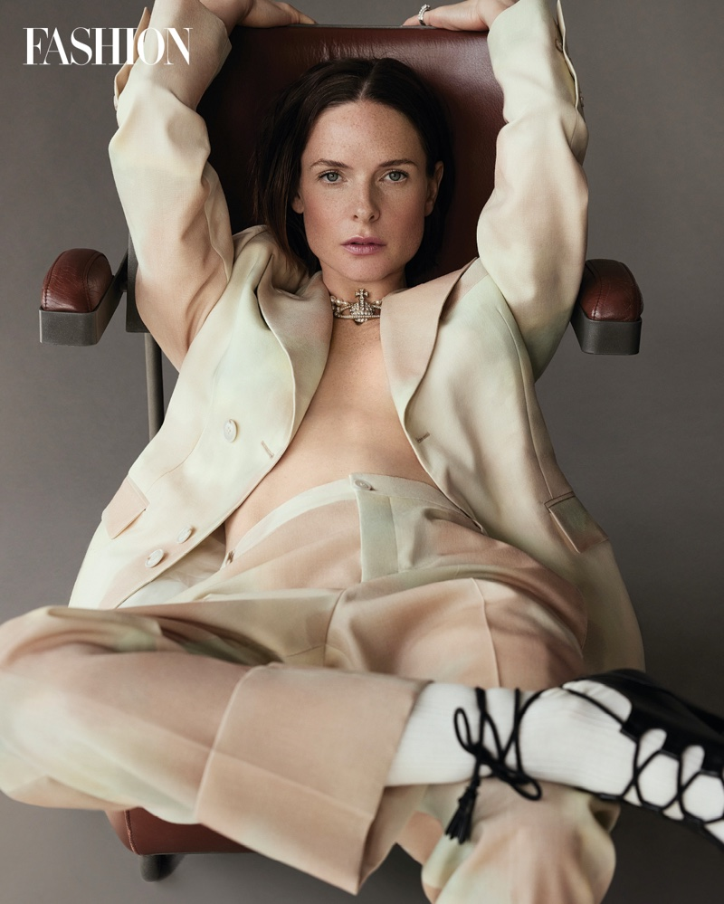 Suiting up, Rebecca Ferguson poses in Vivienne Westwood look with David Morris ring. Photo: Royal Gilbert / FASHION