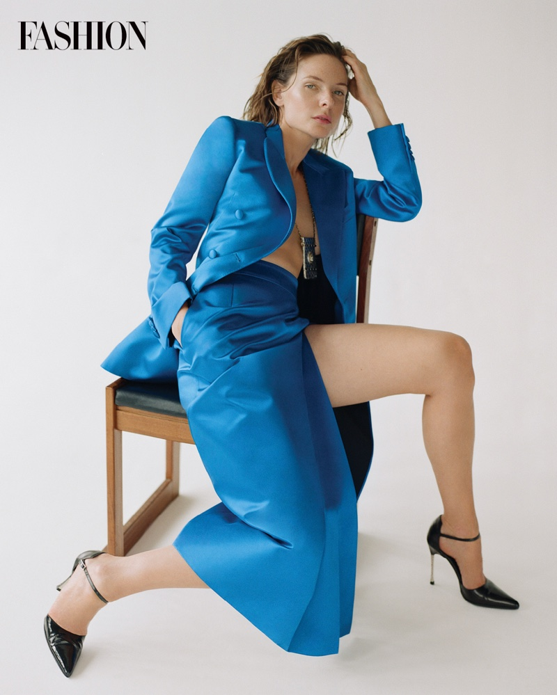 Dressed in blue, Rebecca Ferguson wears Gucci jacket and skirt with Gucci by Tom Ford heels. Photo: Royal Gilbert / FASHION
