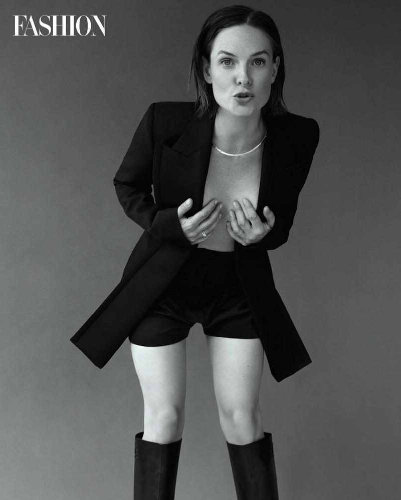 Posing topless, actress Rebecca Ferguson poses in Fendi jacket, shorts, and boots. Photo: Royal Gilbert / FASHION