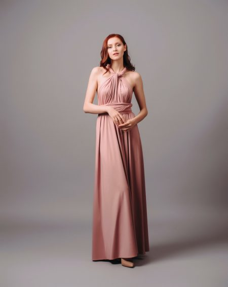 Redhead Model Long Pink Halter Dress