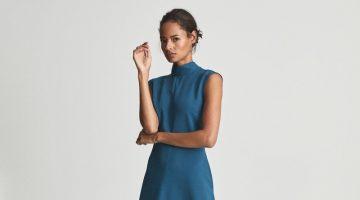 Reiss Livvy Open Back Midi Dress in Teal $395