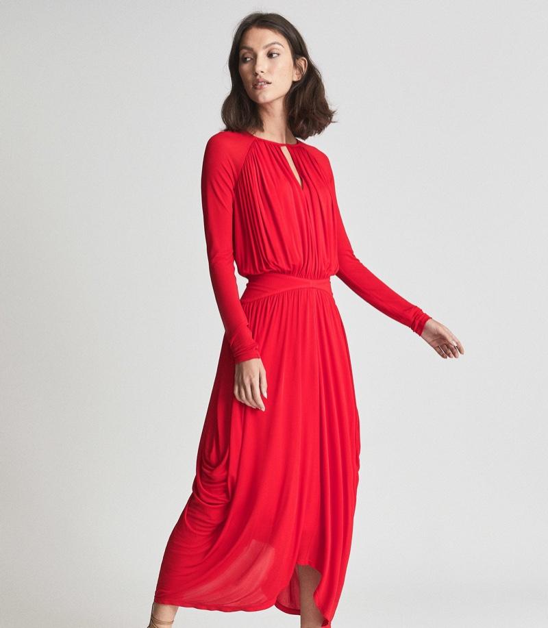 Reiss Savannah Occasion Midi Dress in Red $395