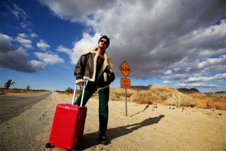 In the California desert, Rihanna fronts Rimowa Never Still 2021 campaign.