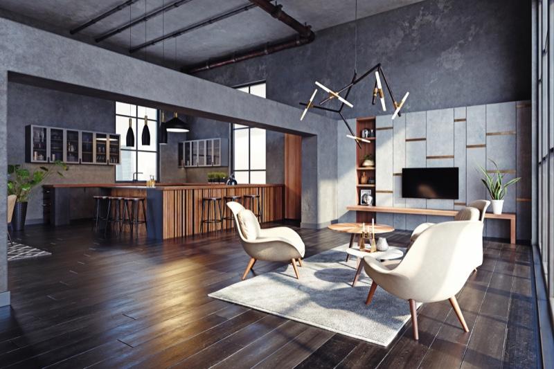 Room White Chairs Wood Flooring Luxury Modern