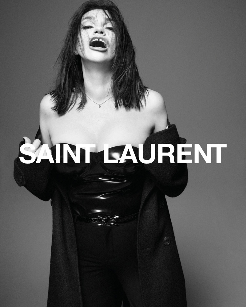Béatrice Dalle emotes in Saint Laurent fall 2021 campaign.