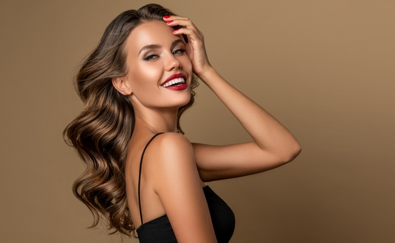 Smiling Model Red Lipstick Showing Teeth