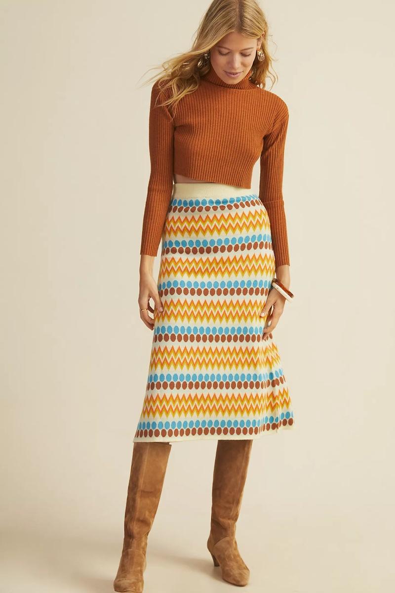 Stella Pardo Geo Wool Sweater Midi Skirt $380