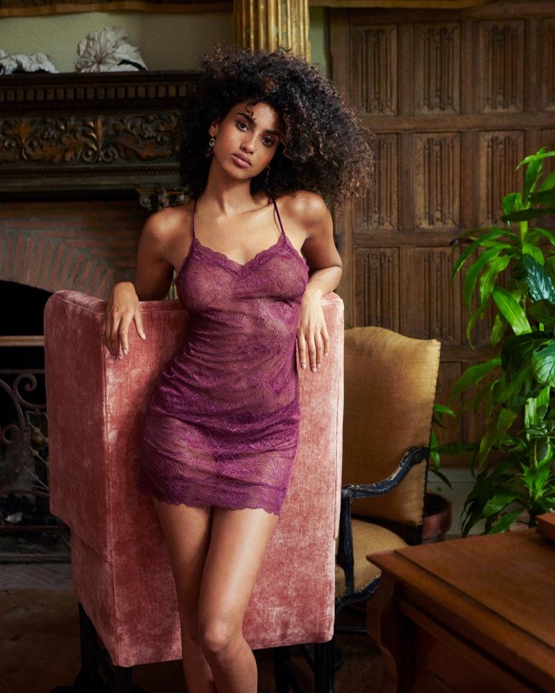 Imaan Hammam wears lace slip in Victoria's Secret Body by Victoria fall 2021 campaign.