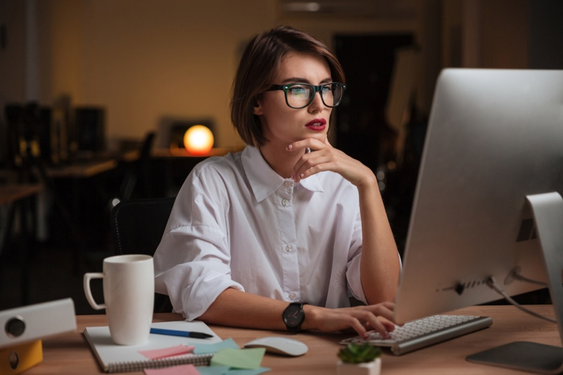 Woman Computer Glasses Office White Shirt