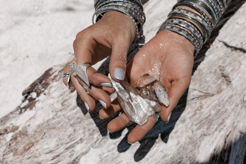 Woman Holding Crystals Stones Jewelry