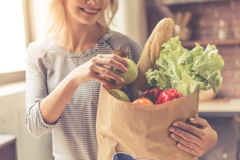 Woman Holding Paper Bag Vegetables Fruit Healthy Food
